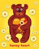 Oso con el corazón de la miel Imágenes de archivo libres de regalías