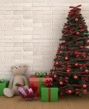 Oso con el regalo y el árbol de navidad en el sitio o la sala de estar - ilustraciones del niño para el día de la Navidad - re libre illustration