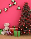 Oso con el regalo y el árbol de navidad en el sitio rojo - ilustraciones para el día de la Navidad - representación 3D stock de ilustración