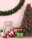 Oso con el regalo y el árbol de navidad en el sitio rosa claro - ilustraciones para el día de la Navidad - representación 3D stock de ilustración