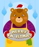 Oso con las galletas de la Navidad Fotografía de archivo