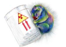 Oso de koala radiactivo coloreado del arco iris soñoliento del dibujo de lápices ácido fotografía de archivo libre de regalías
