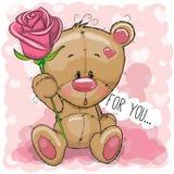 Oso de la historieta con la flor en un fondo rosado stock de ilustración