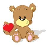 Oso de la tarjeta del día de San Valentín con el corazón Fotos de archivo