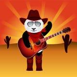 Oso de panda de la historieta con la guitarra acústica en fondo del desierto con el cielo del resplandor solar