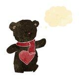 oso de peluche blanco de la historieta con el corazón del amor con la burbuja del pensamiento Imagen de archivo