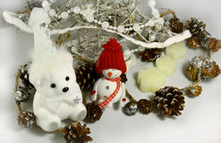 Oso de peluche blanco de la Navidad Fotografía de archivo