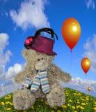 Oso de peluche con el baloon Fotos de archivo libres de regalías