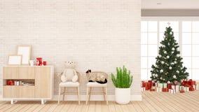 Oso de peluche con el gato en silla y el árbol de navidad en la sala de estar o el sitio del niño - ilustraciones por día de l libre illustration