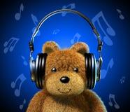 Oso de peluche con los auriculares de la música. Fondo azul con las notas musicales. stock de ilustración