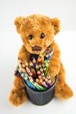 Oso de peluche con los lápices Fotografía de archivo libre de regalías