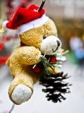 Oso de peluche de la Navidad Fotografía de archivo