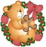 Oso de peluche de la Navidad con la galleta en corona stock de ilustración