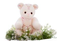 Oso de peluche de la primavera que se sienta en una cama de flores imagenes de archivo