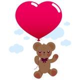 Oso de peluche de la tarjeta del día de San Valentín con el globo Fotografía de archivo