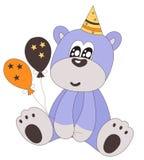Oso de peluche del feliz cumpleaños con el sombrero y los globos del partido Fotografía de archivo libre de regalías