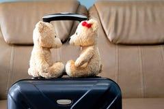 Oso de peluche dos que se sienta en un equipaje en alojamientos Turista a imagen de archivo libre de regalías