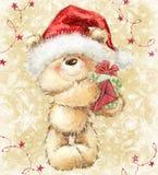 Oso de peluche en el sombrero de Papá Noel con el regalo y la letra ilustración del vector