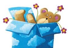 Oso de peluche en una caja azul con las nubes y las flores ilustración del vector