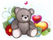 Oso de peluche gris con los corazones del día de tarjetas del día de San Valentín Imágenes de archivo libres de regalías