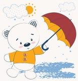 Oso de peluche lindo con el paraguas El ejemplo del vector, impresión de tarjeta de los niños, se puede utilizar para imprimir la ilustración del vector