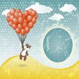 Oso de peluche lindo con un globo Foto de archivo