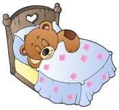 Oso de peluche lindo el dormir Foto de archivo libre de regalías