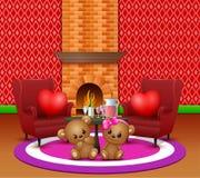 Oso de peluche lindo de los pares en la sala de estar romántica ilustración del vector