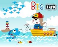 Oso de peluche que pesca en el barco de pesca stock de ilustración