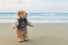 Oso de peluche que se coloca en la playa Imagenes de archivo