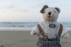 Oso de peluche que se coloca en la playa Fotografía de archivo libre de regalías