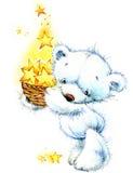 Oso de peluche y fondo blancos de las estrellas de la noche watercolor Foto de archivo