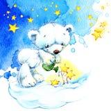 Oso de peluche y fondo blancos de las estrellas de la noche watercolor Imagenes de archivo