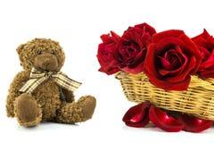 Oso de peluche y rosas rojas en un fondo blanco backgr de la tarjeta del día de San Valentín Fotos de archivo libres de regalías
