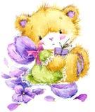 Oso de Toy Teddy y violeta de la flor Ilustración de la acuarela Imagen de archivo libre de regalías