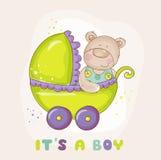 Oso del bebé en carro - para la fiesta de bienvenida al bebé Fotografía de archivo
