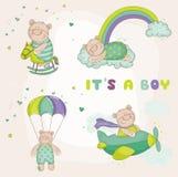 Oso del bebé fijado - tarjeta de la fiesta de bienvenida al bebé