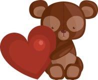 Oso del corazón y del peluche Foto de archivo libre de regalías