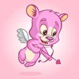 Oso del cupido de la tarjeta del día de San Valentín listo para tirar su flecha Ilustración del vector fotos de archivo libres de regalías