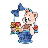 Oso del peluche con las flores en cesta del regalo Imagen de archivo libre de regalías