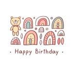 Oso del saludo del feliz cumpleaños Imágenes de archivo libres de regalías
