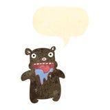 oso hambriento de la historieta retra pequeño ilustración del vector