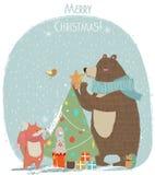 Oso, liebres y zorro lindos - tarjeta de Navidad Fotos de archivo