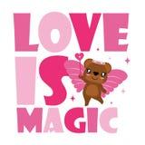 Oso lindo como hada del amor con el ejemplo mágico de la historieta para el diseño de tarjeta feliz de la tarjeta del día de San  Imagen de archivo libre de regalías