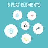 Oso plano de los iconos, pescados juguetones, agua y otros elementos del vector Sistema de iconos planos de la naturaleza Fotos de archivo libres de regalías