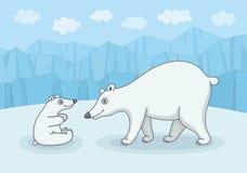 Oso polar blanco con el cachorro libre illustration