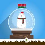 Oso polar blanco de la Feliz Navidad en globo de la nieve Fotografía de archivo