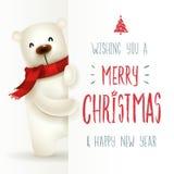 Oso polar con el letrero grande Diseño de letras de la caligrafía de la Feliz Navidad libre illustration