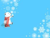 Oso polar con la bufanda y los copos de nieve rojos en fondo azul Concepto de la Navidad Fotografía de archivo