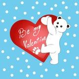 Oso polar de la historieta con día del ` s de la tarjeta del día de San Valentín del corazón Foto de archivo libre de regalías